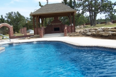 Outdoor Fireplace with Fiberglass Pool