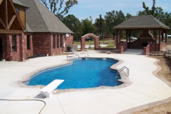 Fiberglass Pool with Diving Board and Fireplace