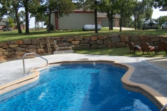 Elegant fiberglass pool in country.