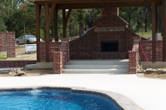 Fiberglass Pool with Outdoor Fireplace
