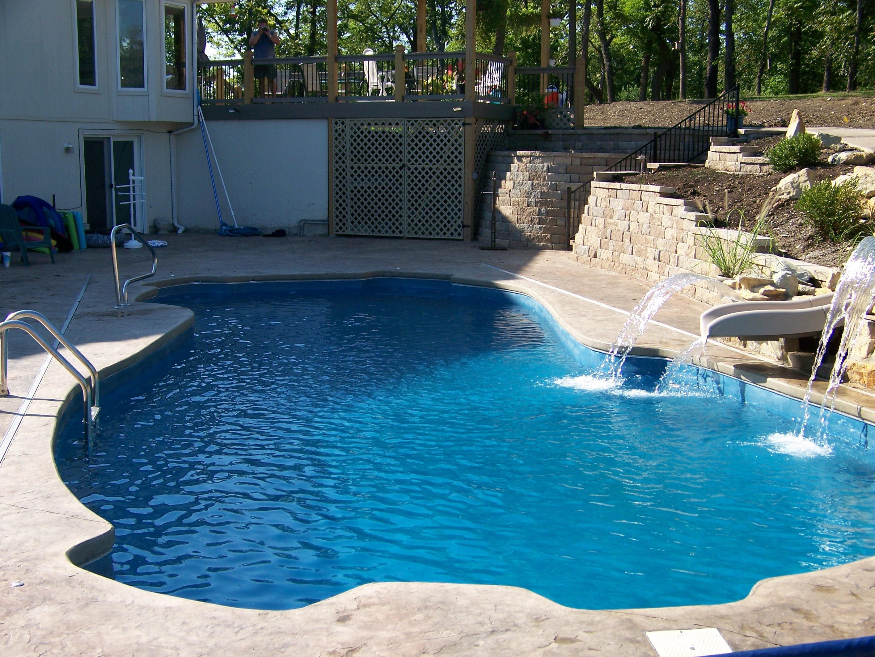 Waterslide and Water Fall with upper deck.