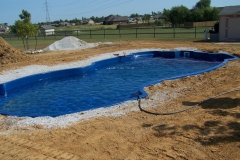 Finished installation of fiberglass pool.