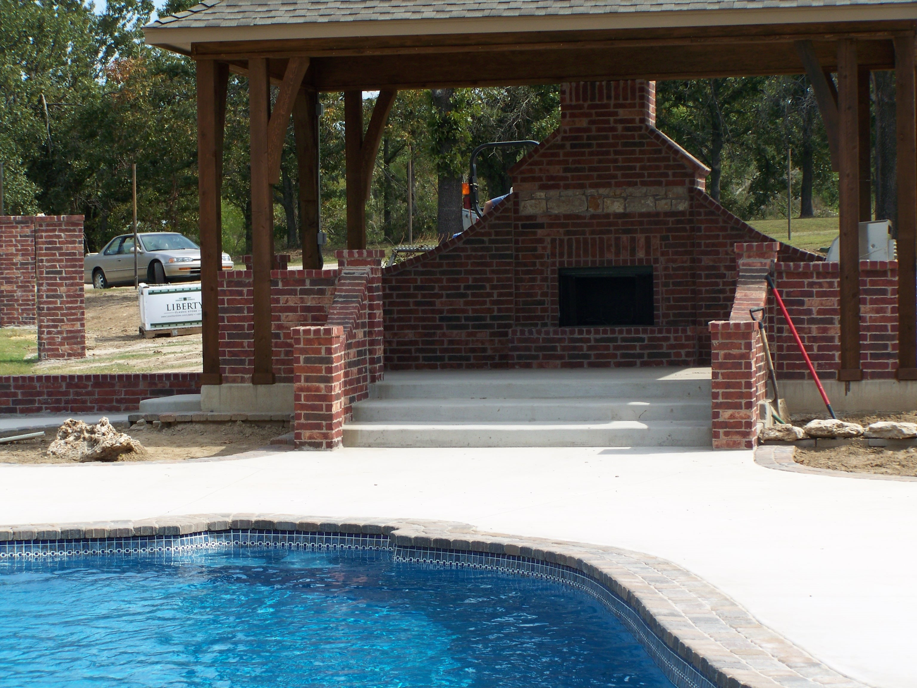 Outdoor Fireplace Near Pool Outdoor Designs
