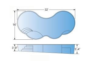 Gemini Fiberglass Pool Shape