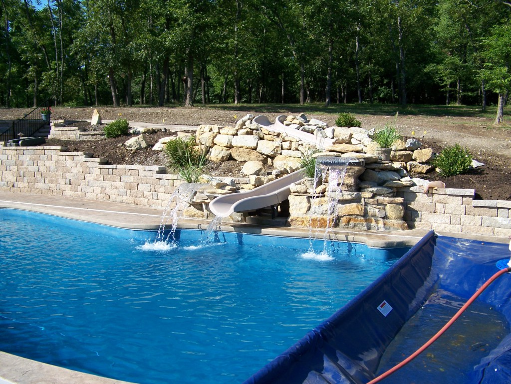 Fiberglass pool decorative features swimming pool - Swimming pool contractors oklahoma city ...